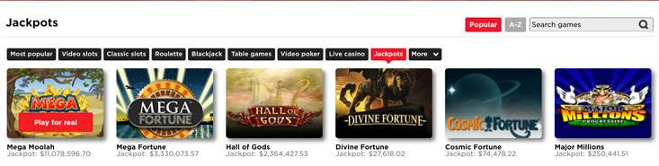 Screenshot of jackpot games at royal panda casino