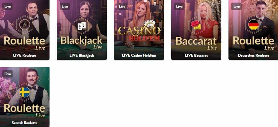 Screenshot of Live casino games at Dunder casino