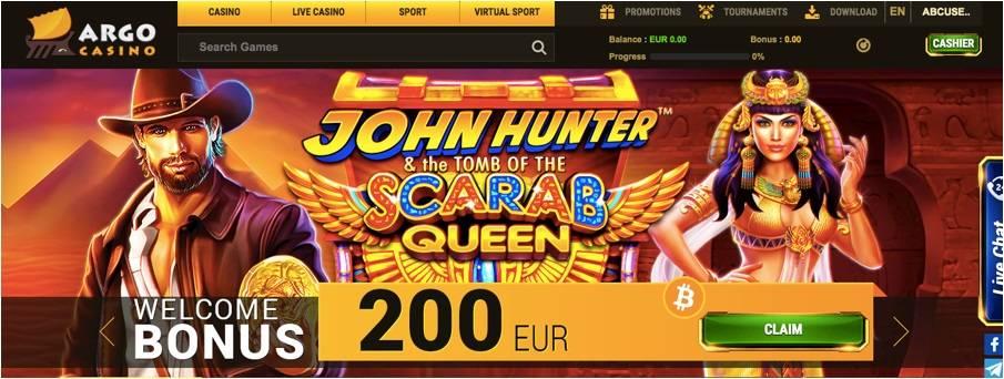 Screenshot Argo casino homepage