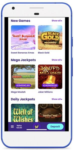 Screenshot of casino games at wildz casino